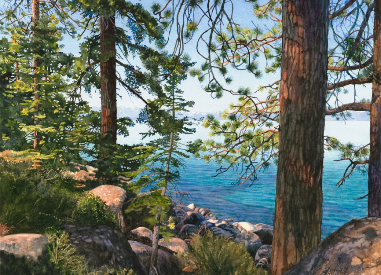 Lisa-Jefferson,watercolors,LJTurquoise-Through-The-Trees,watercolor,landscape,Lake-Tahoe
