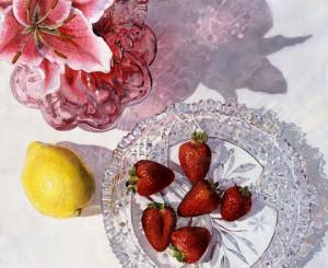 Lisa-Jefferson,watercolors,Pink-Lemonade,watercolor,strawberries,cut-glass-dish,cranberry-glass,still-life