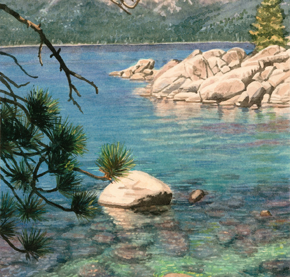 Lisa-Jefferson,watercolors,Sand-Harbor-Cove,watercolor,Lake-Tahoe