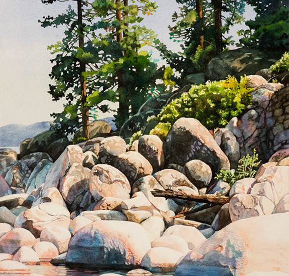Lisa-Jefferson,watercolors,Shoreline-Pines, watercolor,landscape,Lake-Tahoe,beautiful,water,pine-trees