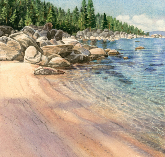 Lisa-Jefferson,watercolors,Sweeping-Beach,watercolor,sandy-beach,Lake-Tahoe