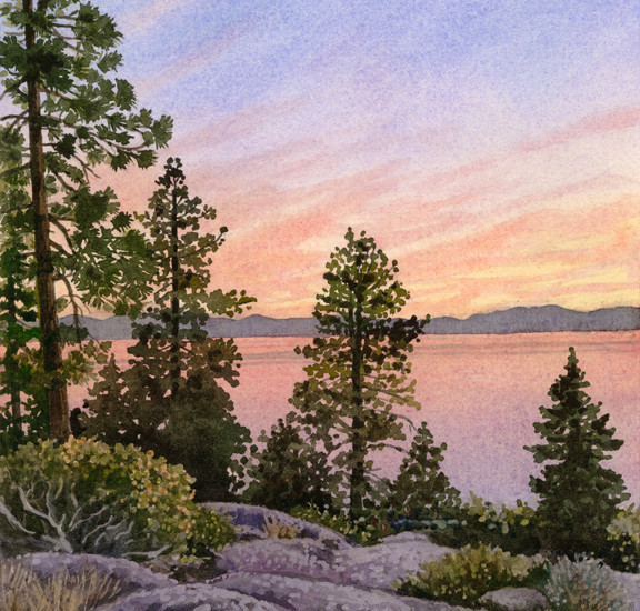 Lisa-Jefferson,watercolors,Tahoe-Sunset,watercolor,sky