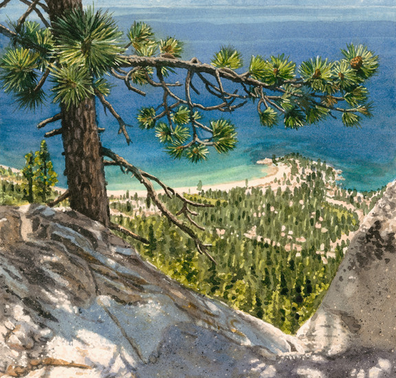 Lisa-Jefferson,watercolors,View-From-Flume-Trail,watercolor,Lake-Tahoe