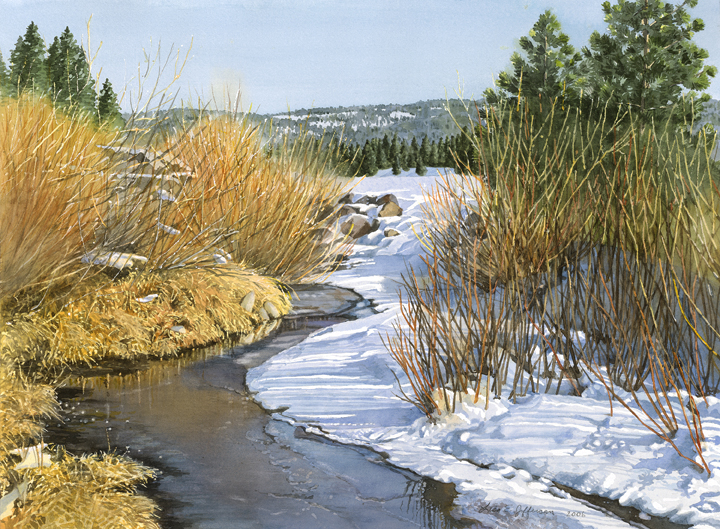 Lisa-Jefferson,watercolors,Willow-Creek,watercolor,snowy-creek