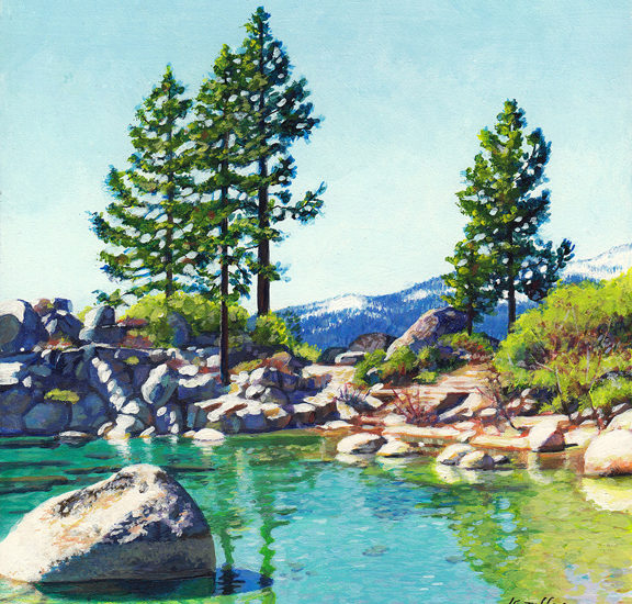 miniature acrylic painting of trees above Sand Harbor