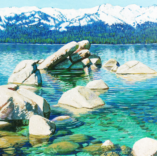 Acrylic painting of snowy mountains above Lake Tahoe