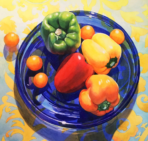 Watercolor of colorful peppers on blue glass plate