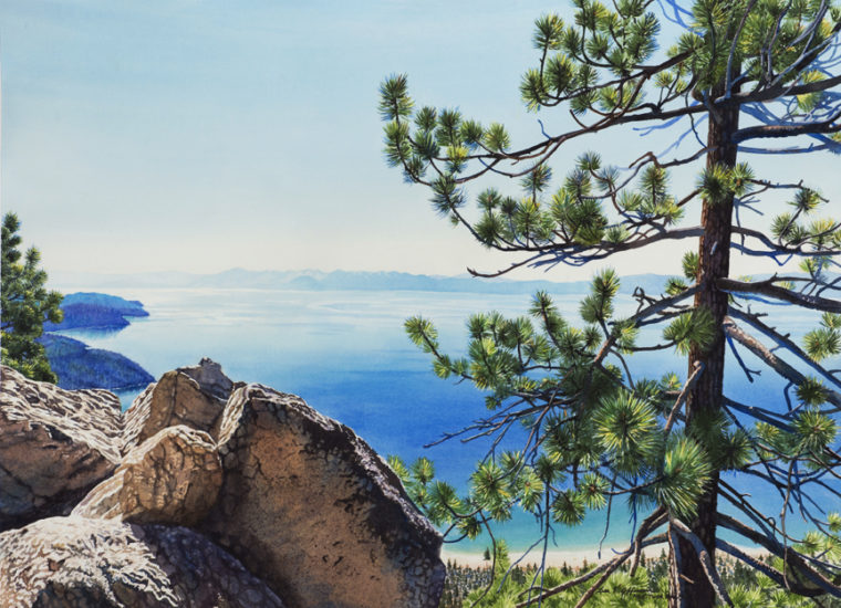 Watercolor of a high view of Lake Tahoe
