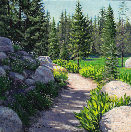 miniature acrylic of wildflower lined mountain path