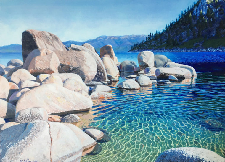 Acrylic painting Skunk Harbor reflections on Lake Tahoe