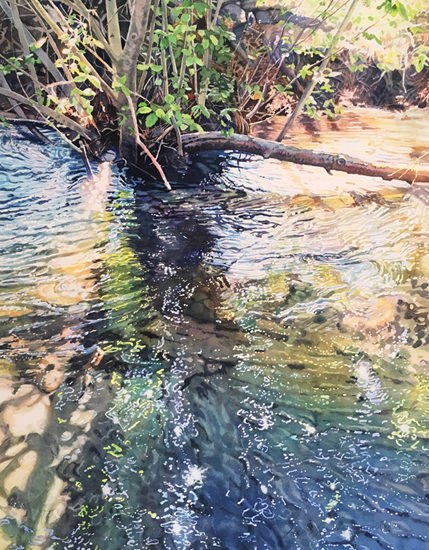 Watercolor painting of willow branches reflected in a creek