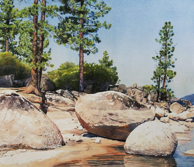 Watercolor of trees and boulders along the lake