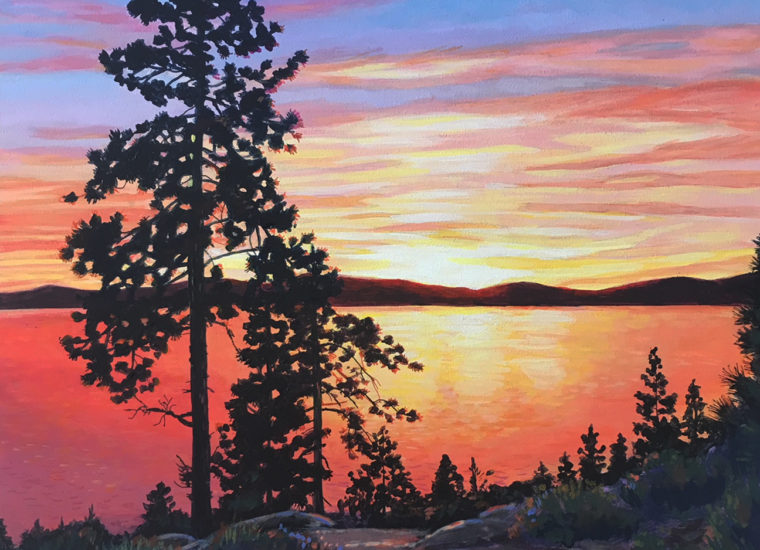 acrylic painting of trees silhouetted against a Tahoe sunset