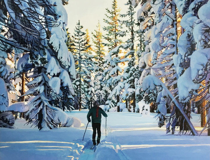 Acrylic painting of a cross country skier out just before sunset