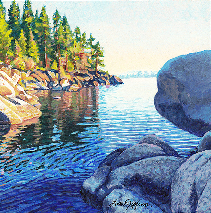 Lake Tahoe miniature acrylic painting