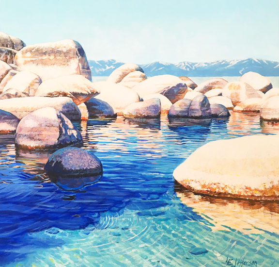Rocks on Lake Tahoe Shore acrylic painting
