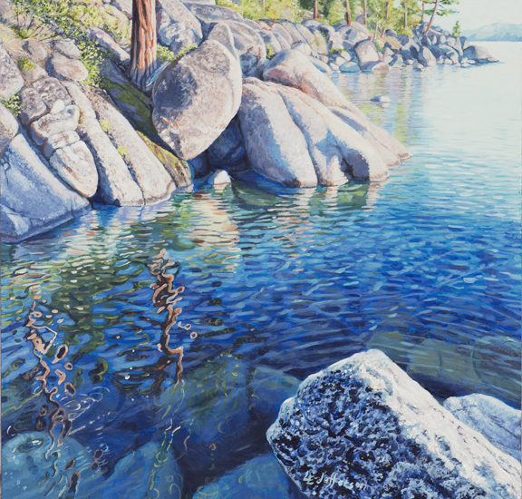 Acrylic painting of rocks and water on the lakeshore