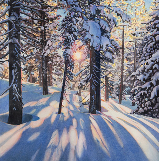 Watercolor painting sunlight streams through trees onto the snow